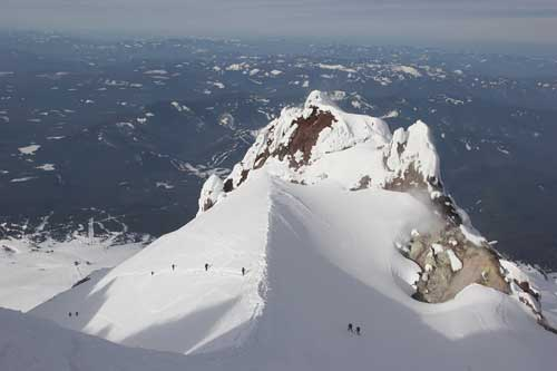 Climbers Crossing the Hogsback While Climbing Mt. Hood